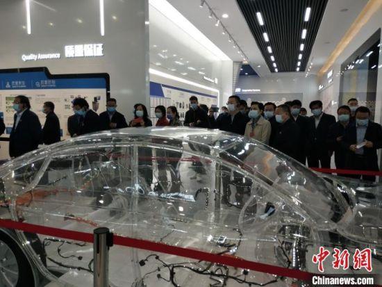 图为河南省相关部门负责人参观鹤壁市一家企业。 杨大勇 摄