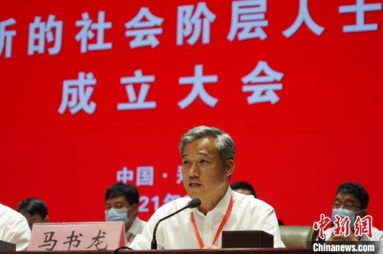 图为马书龙当选为河南省新联会会长。 韩章云 摄