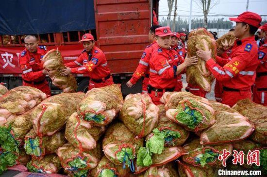 """来自河南卫辉上乐村镇的""""感恩蔬菜"""",12日当天已分发到受灾较重的几个村。 韦亮 摄"""